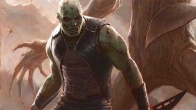 Drax no filme usa o visual atual dos quadrinhos.