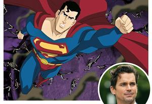 Superman no novo desenho e o ator Matt Bomer, que faz sua voz.