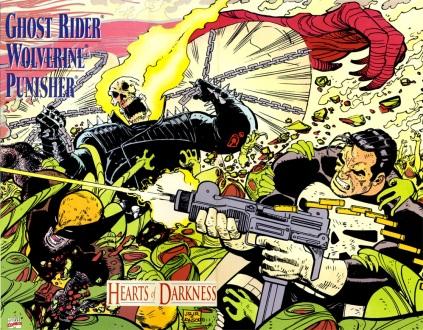Wolverine com Motoqueiro Fantasma e Justiceiro: anti-heróis de sucesso.