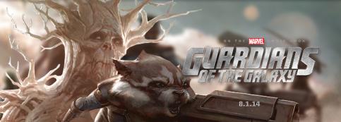 Os personagens Groot e Rocket Raccon dos Guardiões da Galáxia.