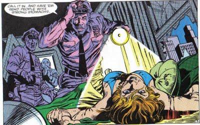 Policiais encontram DeWolff morta: história violenta. Arte de Rick Buckler.