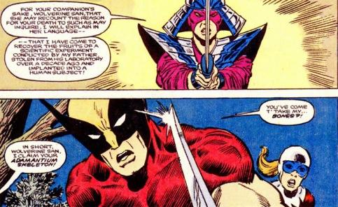 Vinda da revista do DEmolidor, Lady Letal ataca Wolverine pela primeira vez. Arte de Sal Buscema.