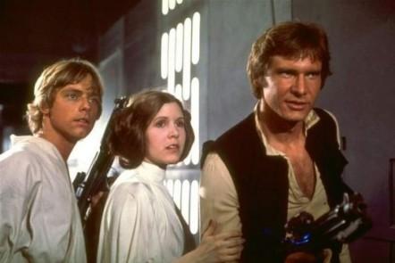 Luke, Leia e Han Solo na primeira trilogia: unidos à nova geração.