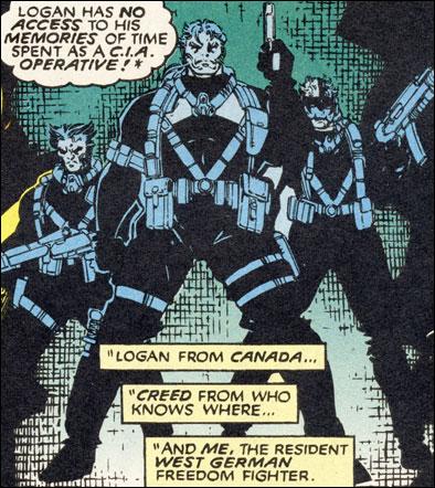 A Equipe X, com Logan, Creed e North: missões na Guerra Fria.