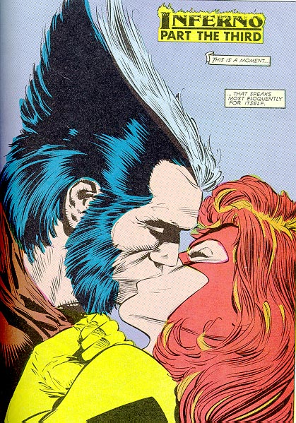 wolverine and jean grey kiss on inferno saga