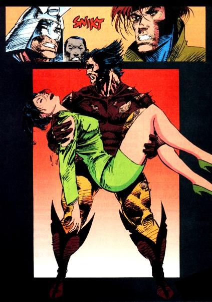 A morte de Mariko Yashida por Larry Hama e Marc Silvestri.