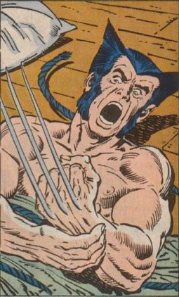 Wolverine vê suas garras de adamantium pela primeira vez em um flashback em Alpha Flight 33, por Bill Mantlo e Sla Buscema.