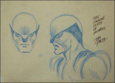 Os esboços originais de John Romita para o visual de Wolverine...
