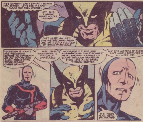 Wolverine assustador por Claremont e Byrne.