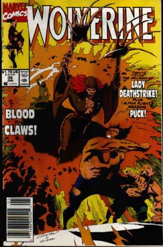Contra Lady Letal na capa de Wolverine 35, por Marc Silvestri.