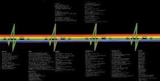 Luzes do prisma viram batimentos cardíacos no encarte do disco.