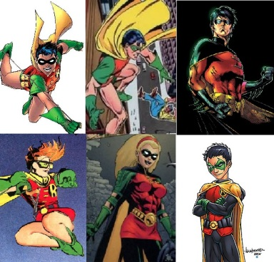 Os Robins em sentido horário: Dick Greyson, Jason Todd, Tim Drake, Damian Wayne, Stephannie Brown e Carrie Kelley.