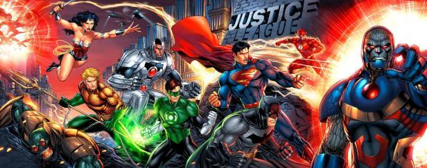 Banner da Liga da Justiça contra o vilão Darkseid na arte de Jim Lee. (Repare que é uma releitura de uma gravura dos X-Men criada pelo artista nos anos 1990).