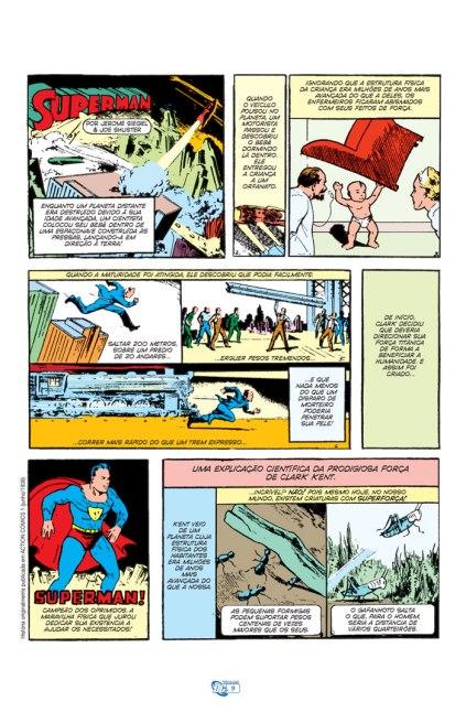 A rapidíssima origem do Superman em Action Comics 01, de 1938.