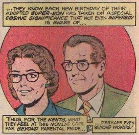 Um retrato do jovem casal Martha e Jonathan Kent na Era de Prata.