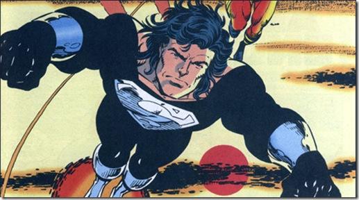 O Superman de uniforme preto e cabelos longos. Arte de Tom Grummett.