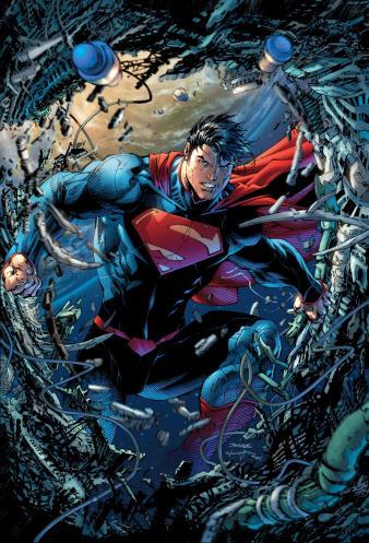 O Superman em visual atual, por Jim Lee.