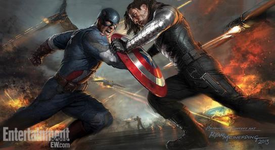 Capitão versus Soldado Invernal: arte conceitual.