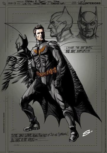 Suposto desenho do Batman com o rosto de Ben Affleck.
