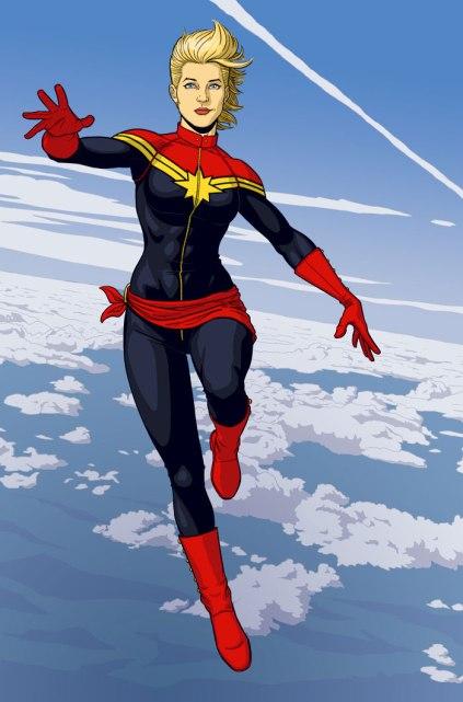 Carol Danvers como a nova Capitã Marvel.