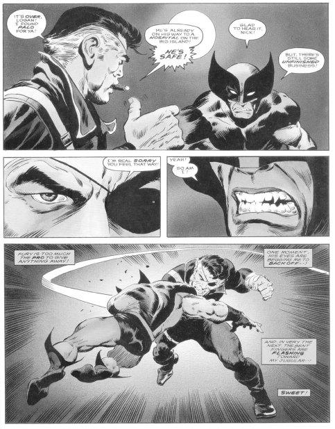 A bela arte de John Buscema para Wolverine versus Nick Fury.