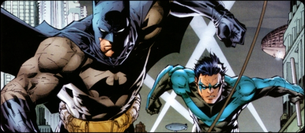 Batman e Asa Noturna em Silêncio. Arte de Jim Lee.
