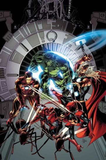 A capa de Avengers 25 por Mike Deodato Jr.: Vingadores originais de volta.