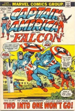 Capitães América em guerra! Arte de Sal Buscema.