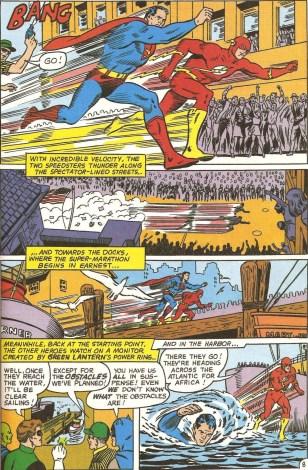 Superman e Flash disputam uma corrida.