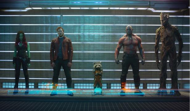 Foto oficial com os Guardiões da Galáxia.