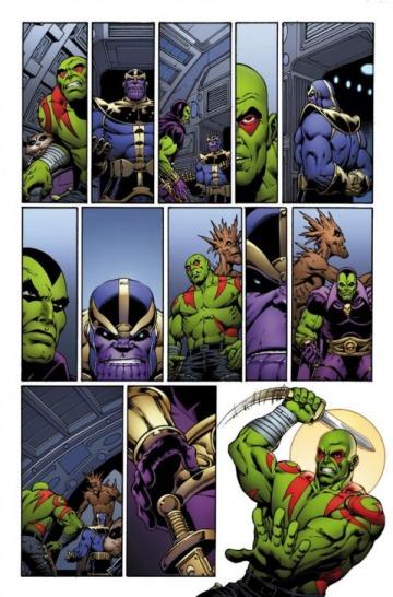 ... e a continuação, com Drax e o que parece ser uma estátua de Thanos.