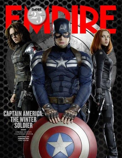 Soldado Invernal, Capitão América e Viúva Negra na capa da Empire.