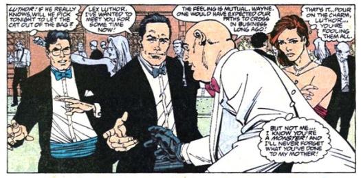 Clark Kent, Bruce Wayne, Lex Luthor e Lois Lane se encontram nos quadrinhos em uma festa.