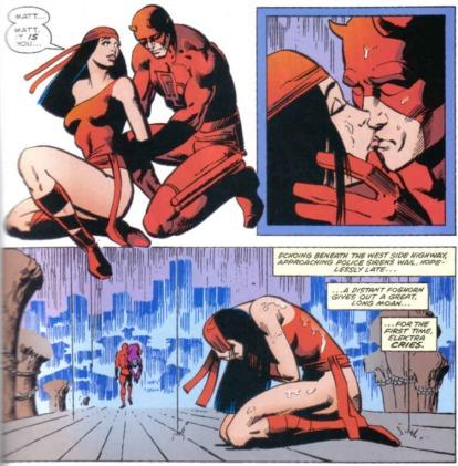 Elektra e o Demolidor: arte de Frank Miller.