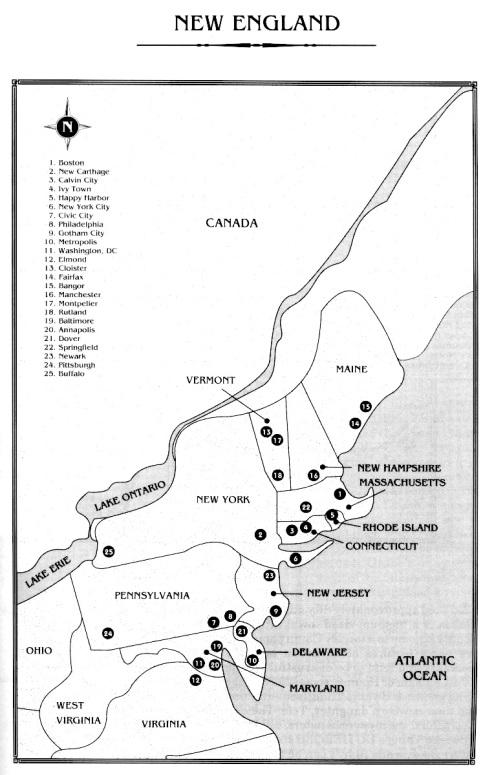 Localização de Gotham, Metrópolis, Nova York, Washington-DC e outras cidades no mapa dos EUA.