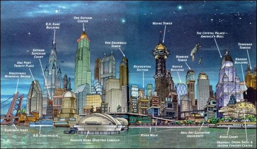 A parte mais rica de Gotham vista do rio. Guia da DC Comics.