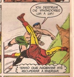 Namor combate os Vingadores na arte de Jack Kirby.