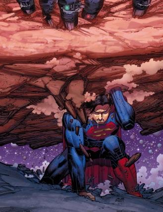 Detalhe da capa de Superman 32 por John Romita Jr.