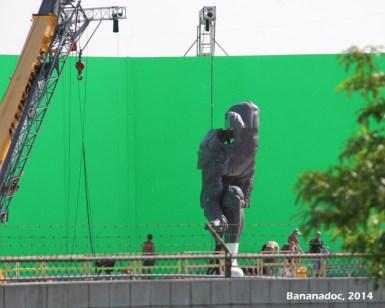 Estátua nas filmagem.