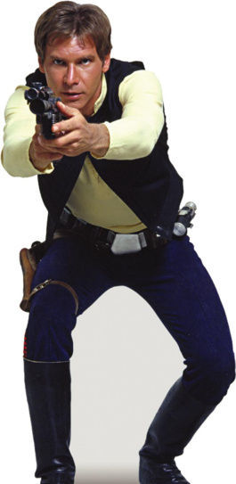 Harrison Ford como Han Solo na trilogia original de Star Wars. Filme sobre origens.