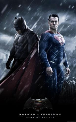 Montagem de fã com as imagens oficiais de Dawn of Justice: Batman e Superman juntos.