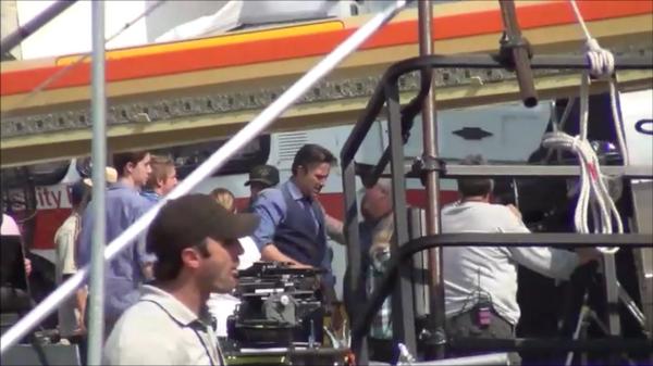 Ben Affleck como Bruce Wayne no set de filmagens.
