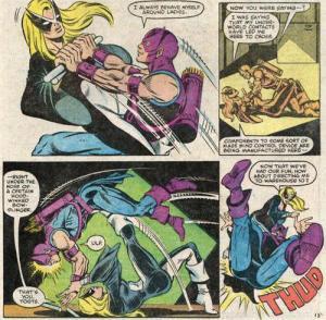 Luta entre Harpia e o Gavião Arqueiro na minissérie de 1983.