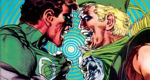 Lanterna Verde e Arqueiro Verde unidos na arte de Neal Adams.