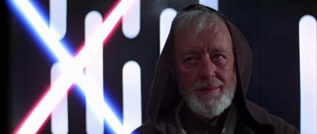 Alec Guiness como Kenobi no Episódio IV.