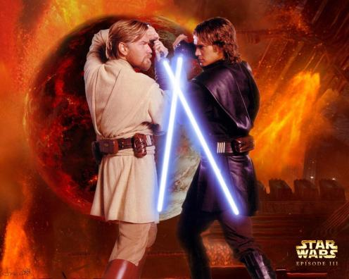 Obi-Wan versus Anakin.
