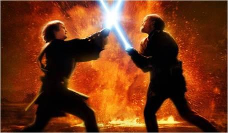 Anakin versus Obi-Wan em Episódio III.