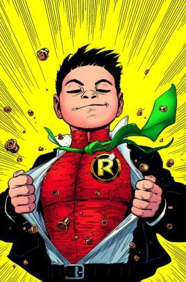 Damian Wayne retorna ao papel de Robin (agora com superpoderes) na capa de Batman & Robin 38.