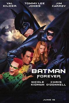 O cartaz de Batman Eternamente: espalhafatoso e colorido.