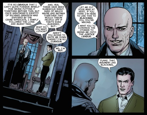 Wayne e Luthor conversa nos quadrinhos mais recentes da DC: relações complicadas.